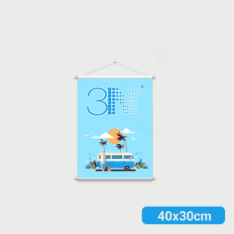 ----- Banner - 40x30cm ----- a partir de 2 unid. Lona 280g 40x30cm 4x0 Brilho Bastão e corda cod: BAT207AL