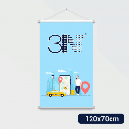 ---- Banner - 120x70cm ----- a partir de 2 unid. Lona 280g 120x70cm 4x0 Brilho Bastão e corda cod: BAT212AL