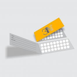 Cartão Duplo 4,8x17,6cm - FRENTE COLOR E VERSO CINZA  4,8x17,6cm 4x1 (Frente colorido e Verso cinza) Verniz Total Frente Corte Reto cod: CD2003MP