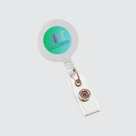 PORTA CRACHÁ RETRÁTIL Cordão 2x2cm 4x0 (só frente) Roller clip resinado  RC01CCZP