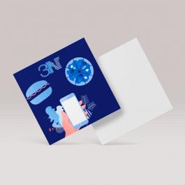 Mini folheto - 15x15cm - frente Couchê 115g 15x15cm 4x0 (só frente) sem verniz Corte reto cod: MPD0250ZP