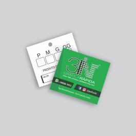 TAG - Frente color e verso cinza Couchê 250g 4,2x4,8cm 4x1 (Frente colorido e verso cinza) Verniz Total Frente Corte Reto + Furo cod: T251003ZP